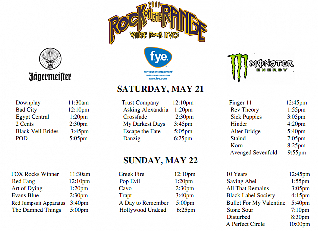 Rock on the Range Band Schedule