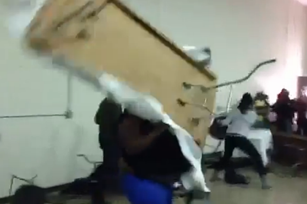 Fat chick throws table catches thrown chair at best for Table th row group