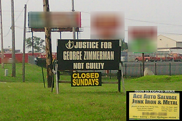 Justice for Zimmerman Sign Flint