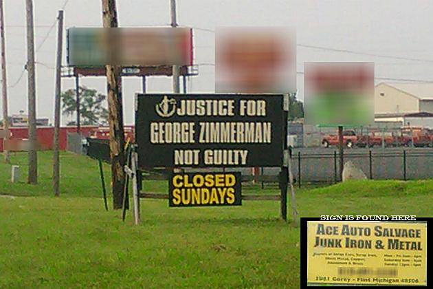 Justice for Zimmerman Sign Flint