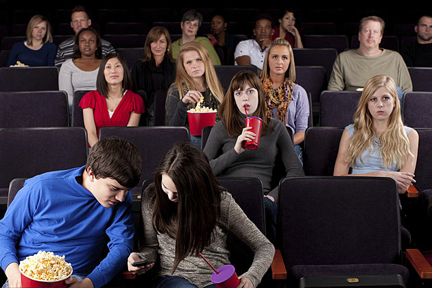 Real People Audience: Group Diverse Watching Movie Theater Texting